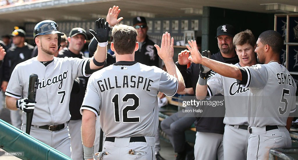 <a gi-track='captionPersonalityLinkClicked' href=/galleries/search?phrase=Conor+Gillaspie&family=editorial&specificpeople=5115369 ng-click='$event.stopPropagation()'>Conor Gillaspie</a> #12 of the Chicago White Soxs celebrates with his teammates after scoring on the Avisail Garcia #26 single during the fifth inning of the game against the Detroit Tigers at Comerica Park on September 22, 2013 in Detroit, Michigan.