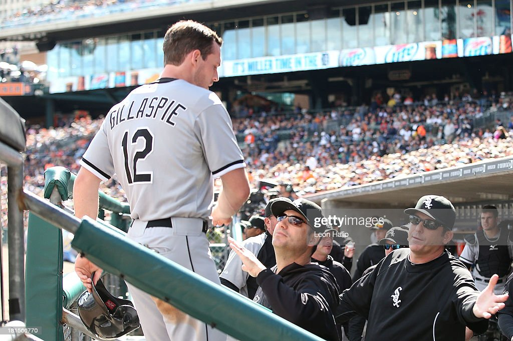 <a gi-track='captionPersonalityLinkClicked' href=/galleries/search?phrase=Conor+Gillaspie&family=editorial&specificpeople=5115369 ng-click='$event.stopPropagation()'>Conor Gillaspie</a> #12 of the Chicago White Soxs is congratulated by manager <a gi-track='captionPersonalityLinkClicked' href=/galleries/search?phrase=Robin+Ventura&family=editorial&specificpeople=211486 ng-click='$event.stopPropagation()'>Robin Ventura</a> #23 after scoring on the Avisail Garcia #26 single during the fifth inning of the game against the Detroit Tigers at Comerica Park on September 22, 2013 in Detroit, Michigan.