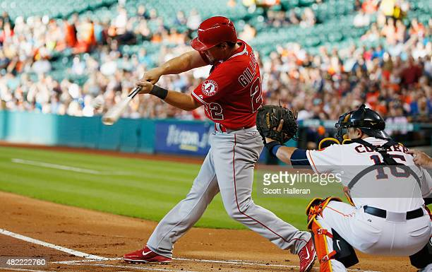 Conor Gillaspie of the Los Angeles Angels of Anaheim connects on an RBI double in the first inning during their game against the Houston Astros at...