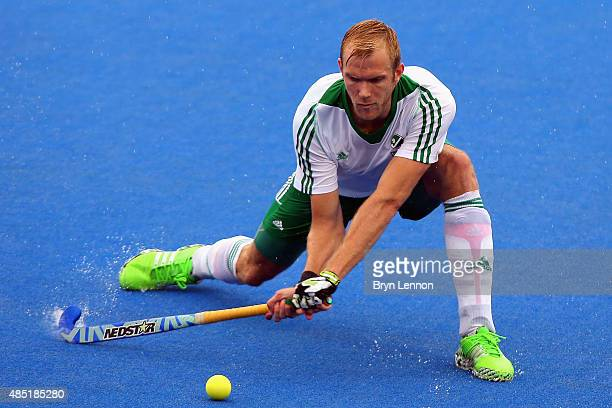 Conor Harte of Ireland in action during the match between Belgium and Ireland on day five of the Unibet EuroHockey Championships at Lee Valley Hockey...