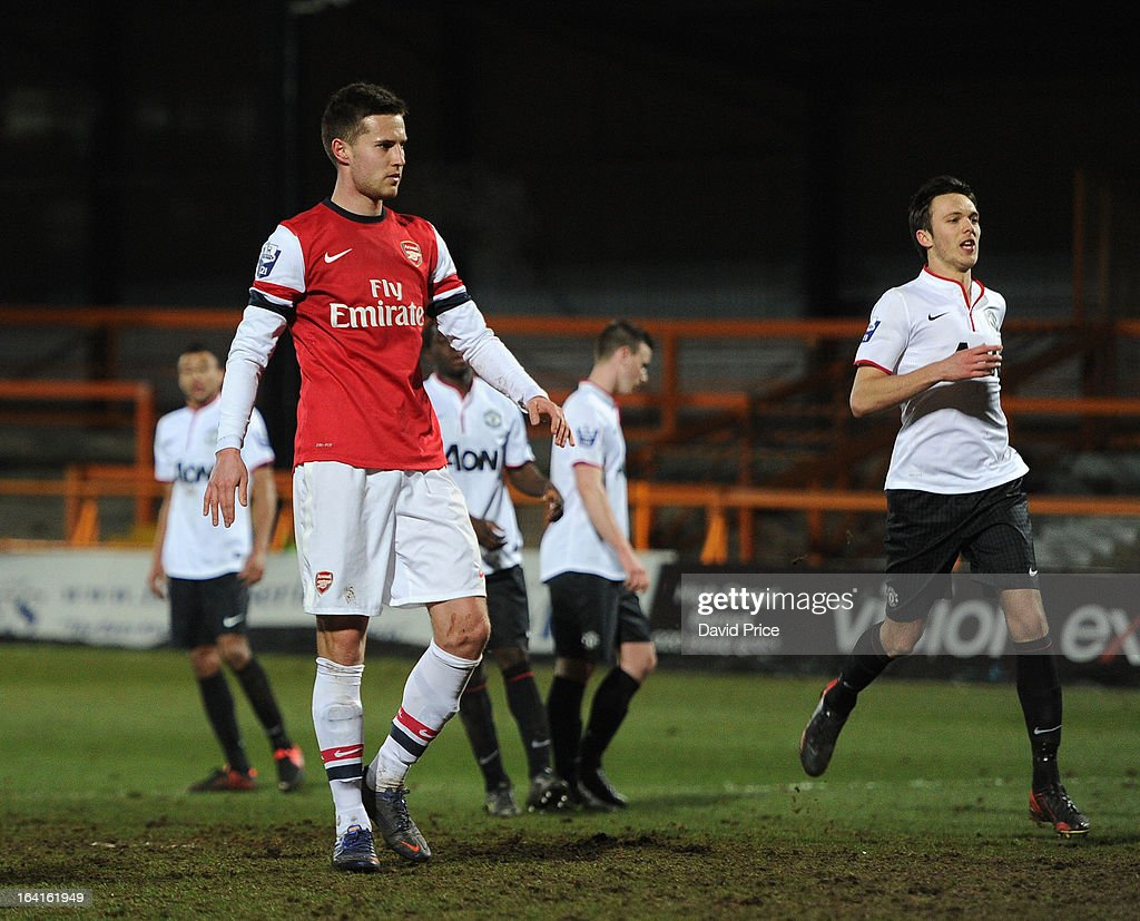 Conor Henderson of Arsenal celebrates scoring Arsenal's 1st goal from the penalty spot during the Barclays Premier U21 match between Arsenal U21 and Manchester United U21 at Underhill Stadium on March 20, 2013 in Barnet, United Kingdom.
