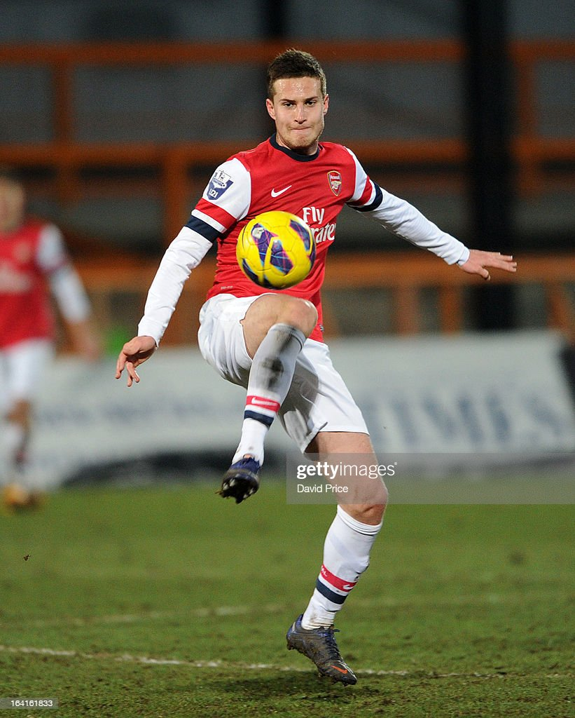 Conor Henderson of Arsenal during the Barclays Premier U21 match between Arsenal U21 and Manchester United U21 at Underhill Stadium on March 20, 2013 in Barnet, United Kingdom.