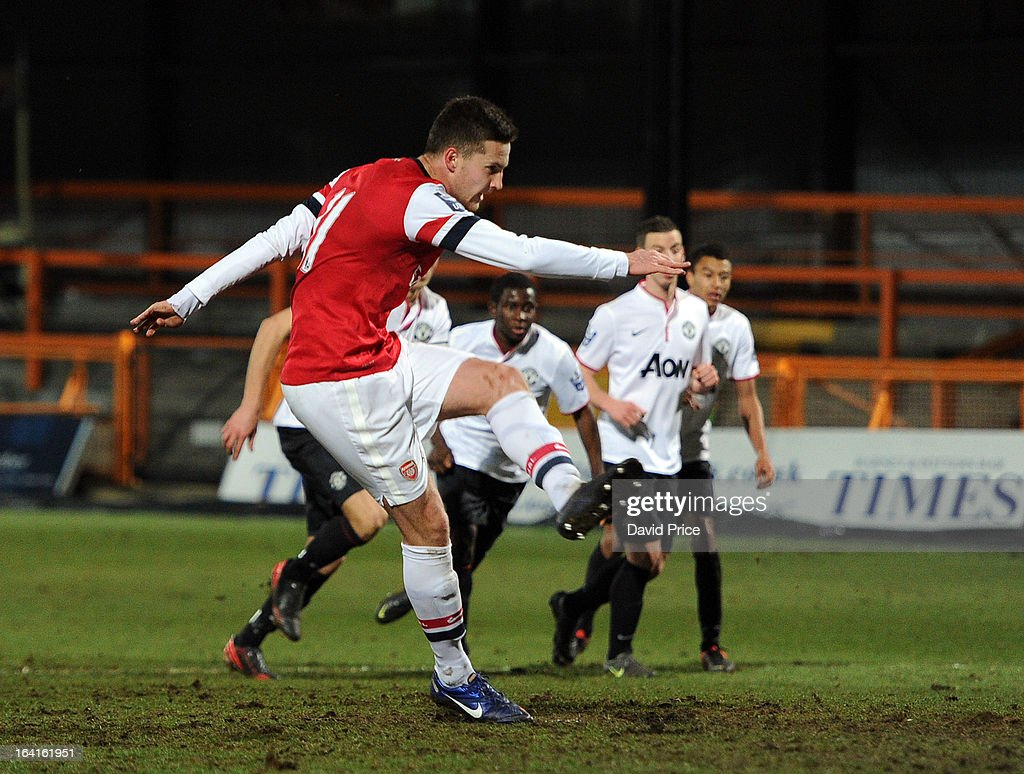 Conor Henderson scores Arsenal's 1st goal from the penalty spot during the Barclays Premier U21 match between Arsenal U21 and Manchester United U21 at Underhill Stadium on March 20, 2013 in Barnet, United Kingdom.
