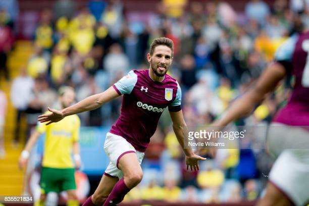 Conor Hourihane of Aston Villa scores his second for Aston Villa during the Sky Bet Championship match between Aston Villa and Norwich City at Villa...