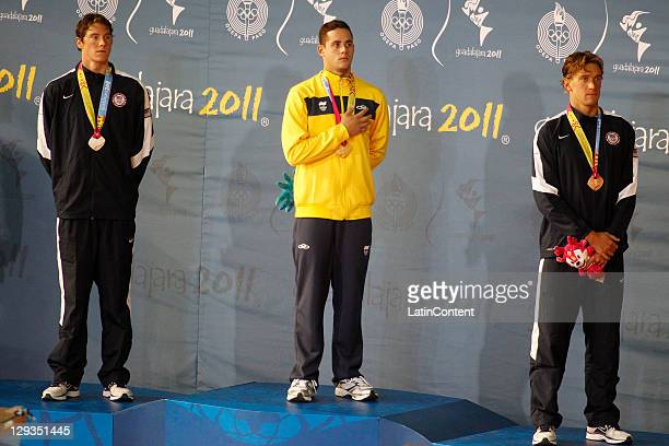 Conor J Dwyer from USA silver medal Thiago Pereira from Brazil gold medal and Rober John Margalis bronce medal in the Men's 400 individual Medley in...