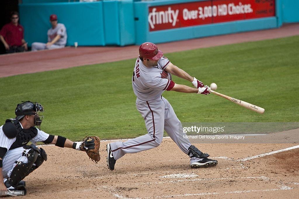 Conor Jackson #34 of the Arizona Diamondbacks bats during a MLB game against the Florida Marlins in Sun Life Stadium on May 18, 2010 in Miami, Florida.