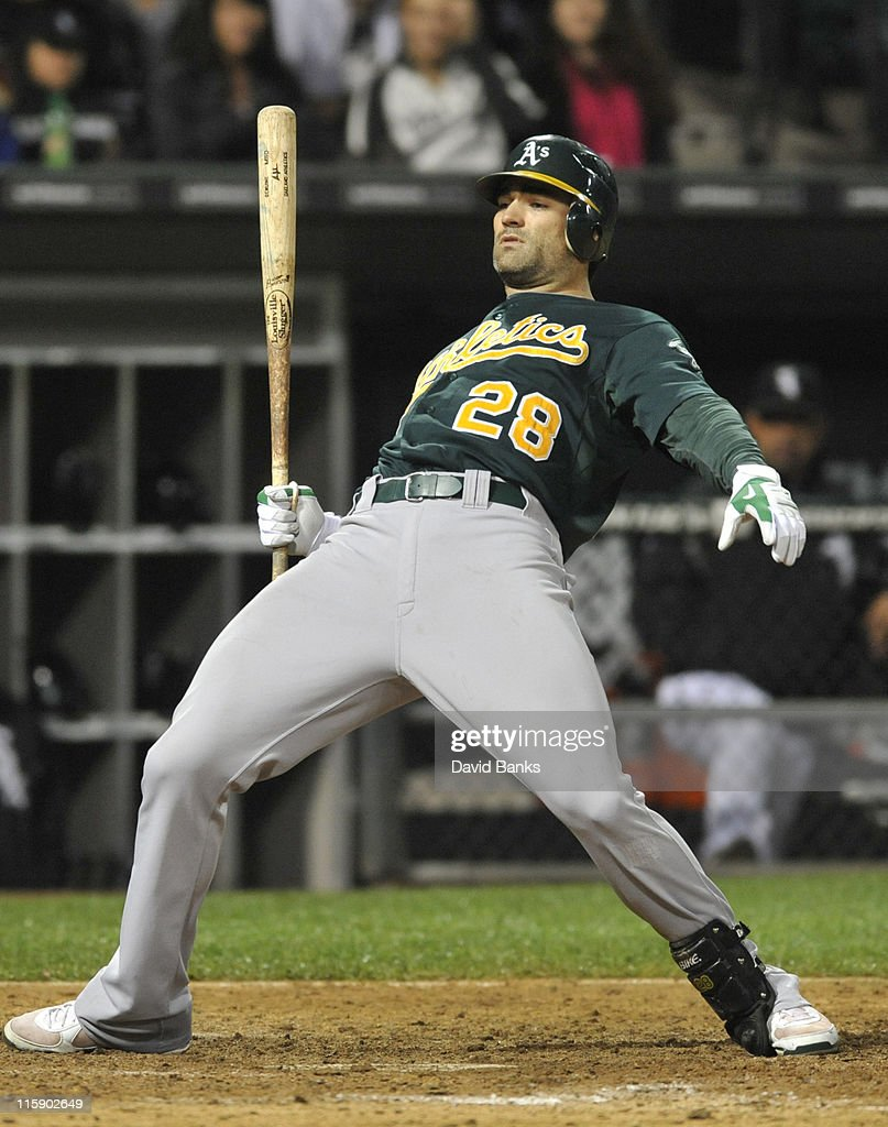 <a gi-track='captionPersonalityLinkClicked' href=/galleries/search?phrase=Conor+Jackson&family=editorial&specificpeople=593147 ng-click='$event.stopPropagation()'>Conor Jackson</a> # 28 of the Oakland Athletics gets out of the way of an inside pitch against the Chicago White Sox on June 11, 2011 at U.S. Cellular Field in Chicago, Illinois. The Sox defeated the Athletics 3-2.