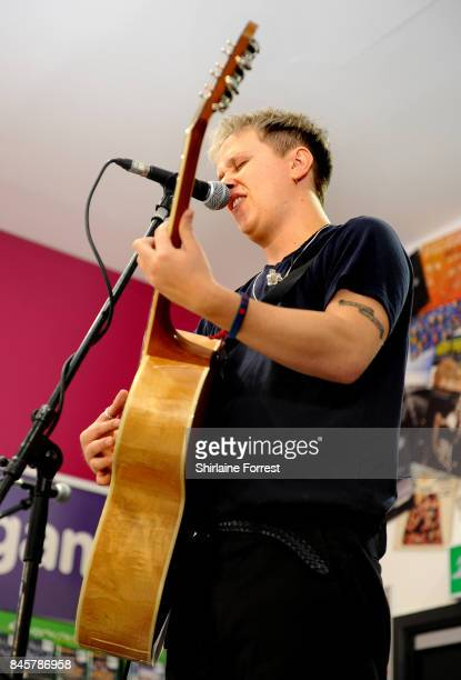 Conor Mason of Nothing But Thieves performs live and signs copies of their new album 'Broken Machine' at HMV Manchester on September 11 2017 in...