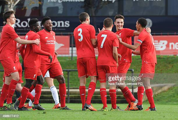 Conor Masterson Toni Gomes Mich'el Parker Kris Owens Herbie Kane Adam Phillips and Trent AlexanderArnold of Liverpool celebrate Phillips' goal during...