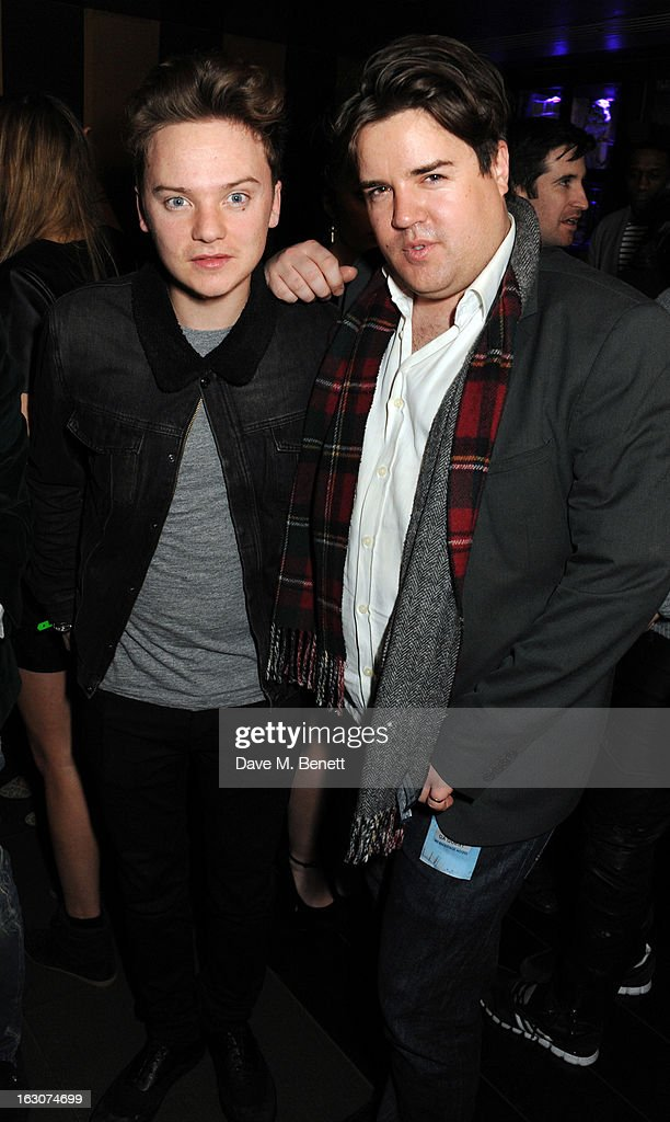 Conor Maynard and Michael Evans attend the Girls Aloud Ten - The Hits Tour London after party at Whisky Mist Club on March 02, 2013 in London, England.