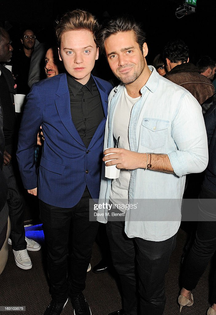 Conor Maynard and Spencer Matthews attend the exclusive after party following the launch of the Rihanna For River Island collection at DSTRKT on...