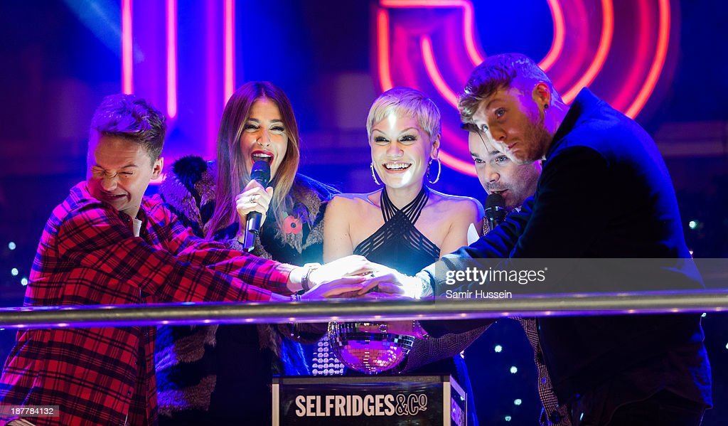 Conor Maynard Lisa Snowdon Jessie J Dave Berry and James Arthur switch on the Oxford Street Christmas lights at Selfridges on November 12 2013 in...