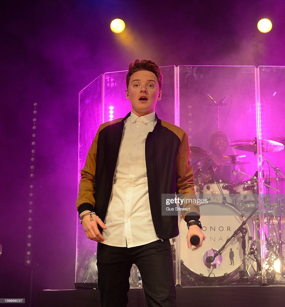 <a gi-track='captionPersonalityLinkClicked' href=/galleries/search?phrase=Conor+Maynard&family=editorial&specificpeople=8899313 ng-click='$event.stopPropagation()'>Conor Maynard</a> performs on stage as part of the MTV Brand New series at The Forum on January 22, 2013 in London, England.
