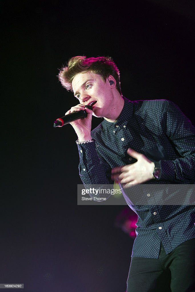 Conor Maynard performs on stage at LG Arena on March 14 2013 in Birmingham England