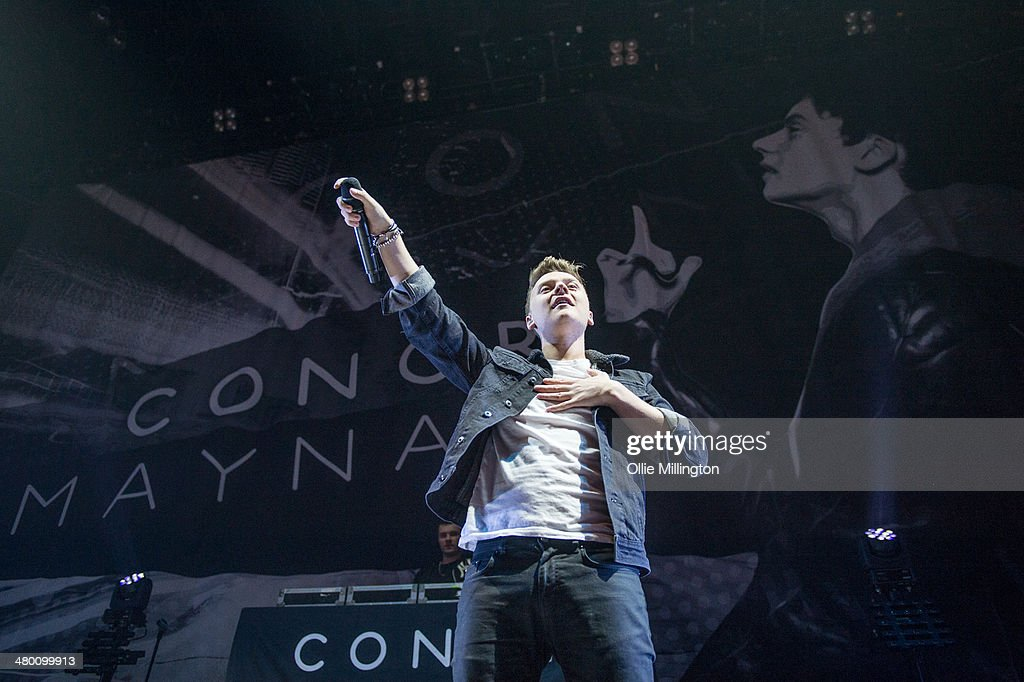 Conor Maynard performs on stage at NIA Arena on March 22 2014 in Birmingham United Kingdom