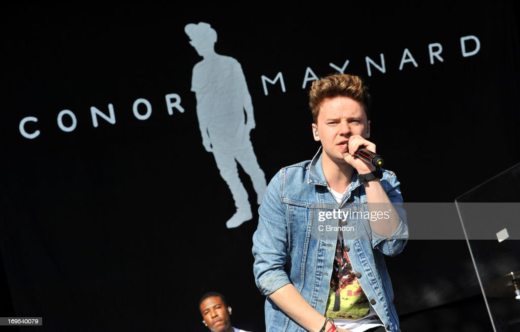 Conor Maynard performs on stage at the As One In The Park Music Festival at Victoria Park on May 26 2013 in London England