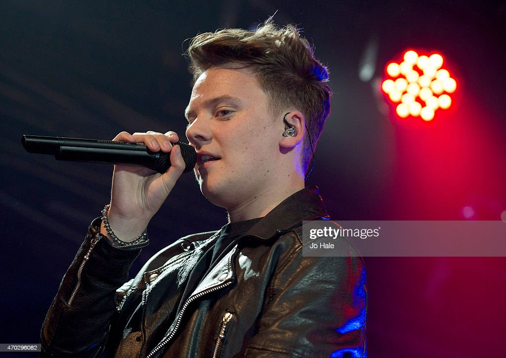 Conor Maynard performs on stage with 2 dancers at Heaven on April 18 2015 in London United Kingdom