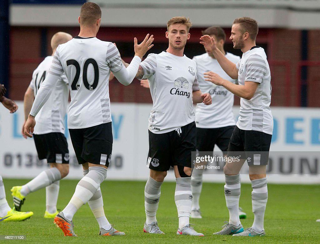 Conor McAleny (C) of Everton celebrates his goal during the Pre Season Friendly match between Dundee and Everton at Dens Park on July 28, 2015 in Dundee, Scotland.