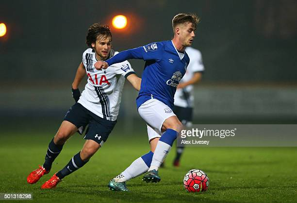 Conor McAleny of Everton U21s goes past Filip Lesniak of Spurs U21s during the Barclays U21 Premier League match between Everton U21 and Tottenham...