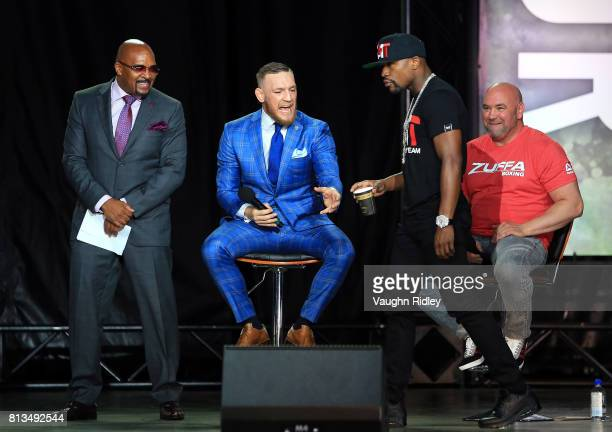 Conor McGregor asks for 2 sugars in his coffee during the Floyd Mayweather Jr v Conor McGregor World Press Tour at Budweiser Stage on July 12 2017 in...