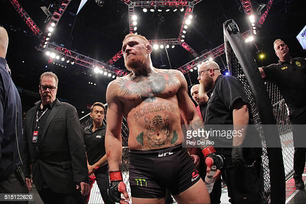 Conor McGregor exits the Octagon after his fight against Nate Diaz in their welterweight bout during the UFC 196 at the MGM Grand Garden Arena on...