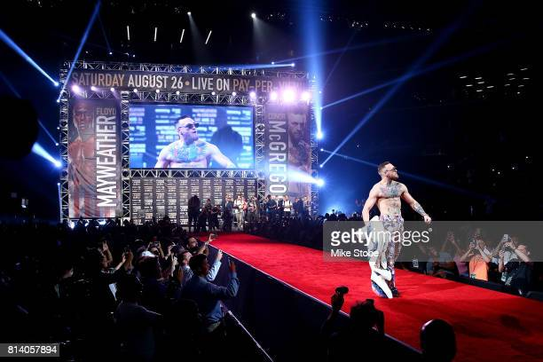 Conor McGregor is introduced during the Floyd Mayweather Jr v Conor McGregor World Press Tour event at Barclays Center on July 13 2017 in the...