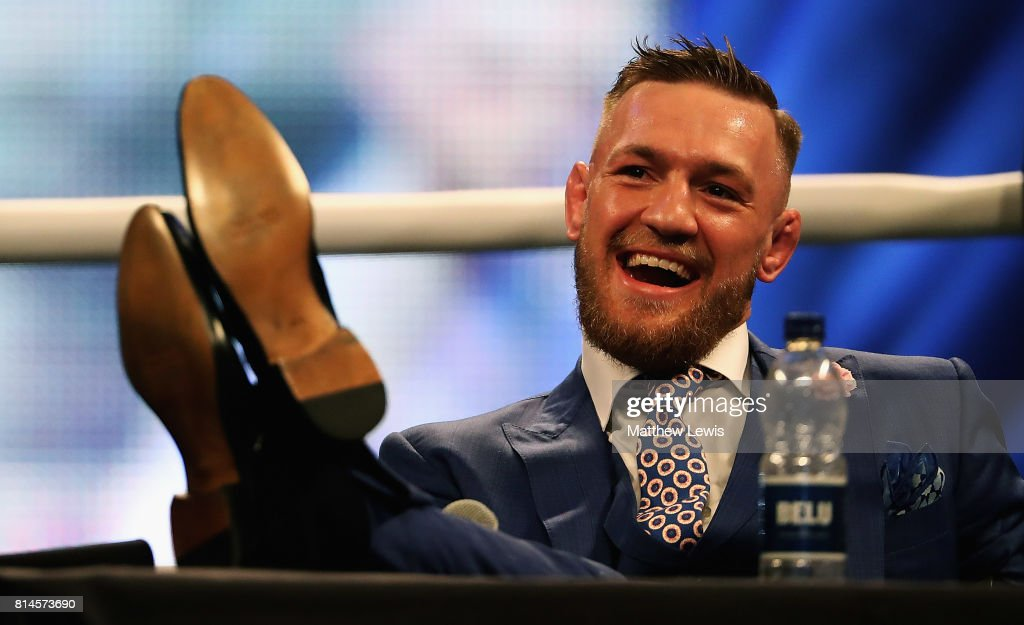 Conor McGregor looks on during the Floyd Mayweather Jr. v Conor McGregor World Press Tour at SSE Arena on July 14, 2017 in London, England.