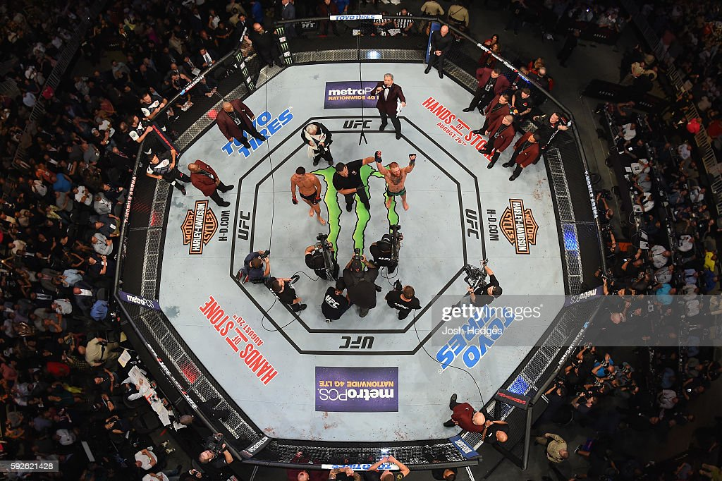 Conor McGregor of Ireland celebrates after defeating Nate Diaz in their welterweight bout during the UFC 202 event at TMobile Arena on August 20 2016...