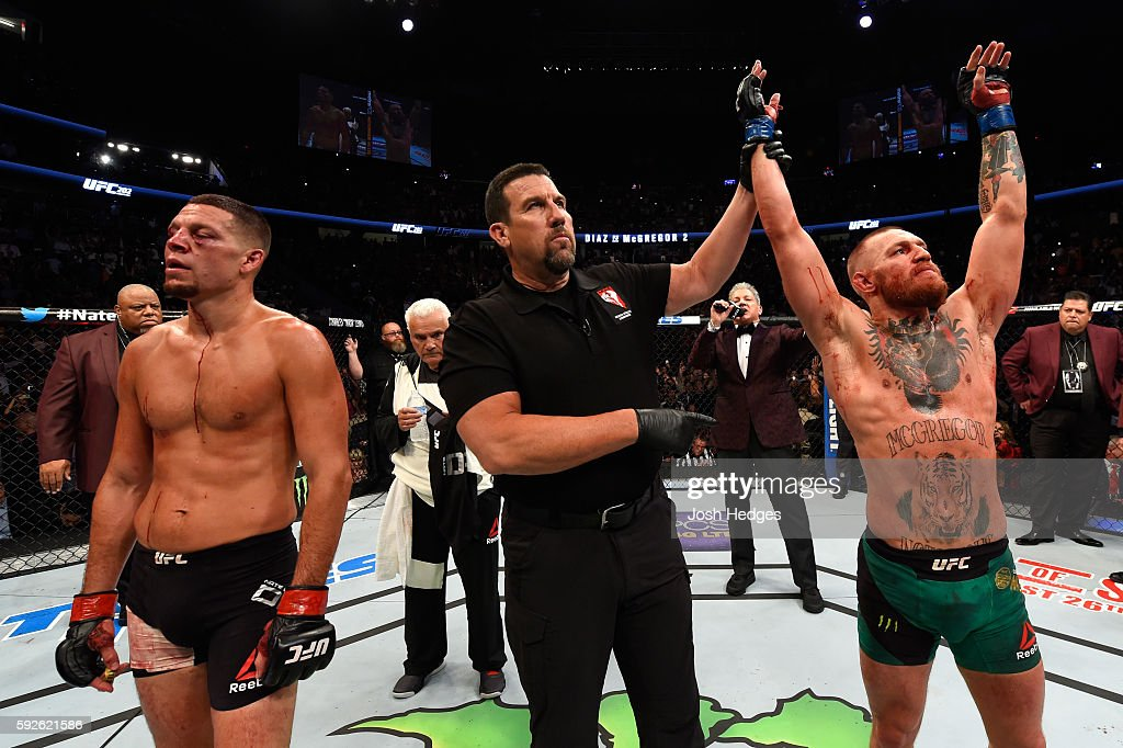 Conor McGregor of Ireland celebrates his win over Nate Diaz in their welterweight bout during the UFC 202 event at TMobile Arena on August 20 2016 in...