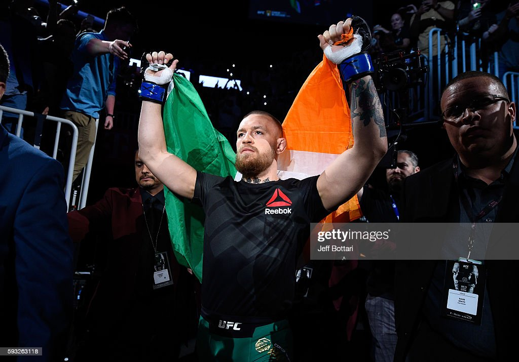 Conor McGregor of Ireland enters the arena prior to facing Nate Diaz in their welterweight bout during the UFC 202 event at T-Mobile Arena on August 20, 2016 in Las Vegas, Nevada.