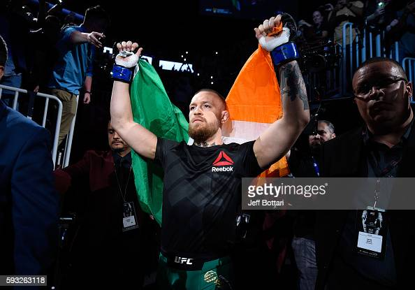 Conor McGregor of Ireland enters the arena prior to facing Nate Diaz in their welterweight bout during the UFC 202 event at TMobile Arena on August...