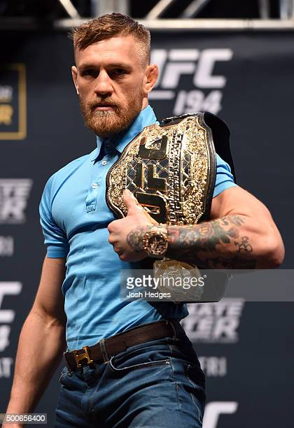 Conor McGregor of Ireland poses for photos during the UFC Press Conference inside MGM Grand Garden Arena on December 9 2015 in Las Vegas Nevada