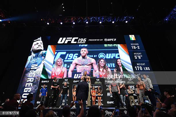 Conor McGregor of Ireland weighs in during the UFC 196 Weighin at the MGM Grand Garden Arena on March 4 2016 in Las Vegas Nevada