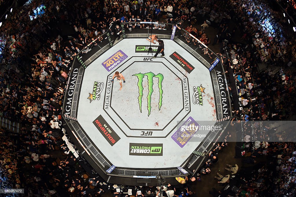 Conor McGregor reacts to his victory over Chad Mendes in their UFC interim featherweight title fight during the UFC 189 event inside MGM Grand Garden Arena on July 11, 2015 in Las Vegas, Nevada.