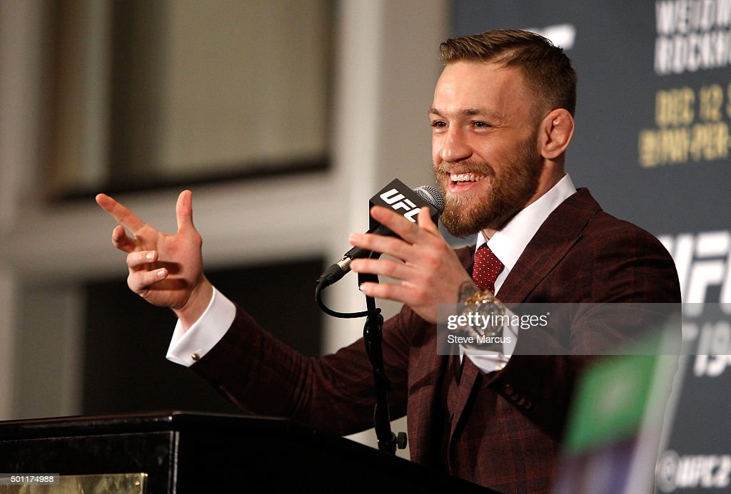 Conor McGregor speaks at a post-fight press conference after beating Jose Aldo in their featherweight title fight during UFC 194 at MGM Grand Garden Arena on December 12, 2015 in Las Vegas, Nevada. McGregor won with a first-round knockout.