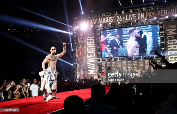 Conor McGregor speaks during the Floyd Mayweather Jr v Conor McGregor World Press Tour event at Barclays Center on July 13 2017 in the Brooklyn...