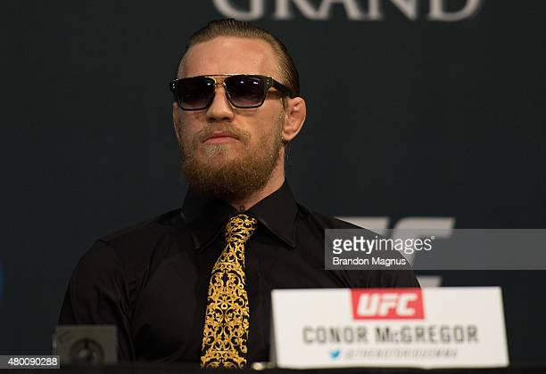 Conor McGregor speaks to the media during the UFC 189 TUF Finale Press Conference at MGM Grand Hotel Casino on July 9 2015 in Las Vegas Nevada