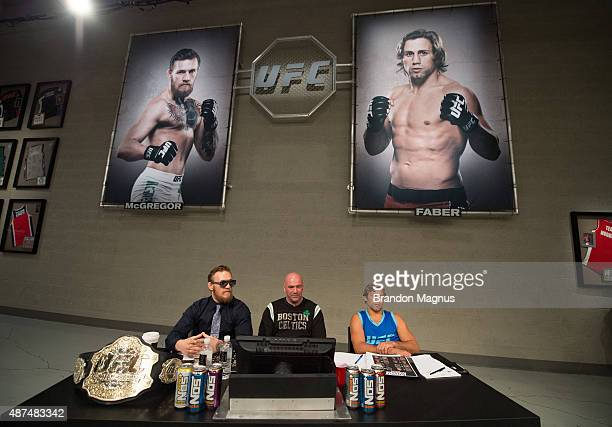 Conor McGregor UFC president Dana White and Urijah Faber watch the elimination fights at the UFC TUF Gym on July 17 2015 in Las Vegas Nevada