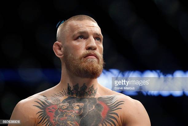 Conor McGregor waits for the start of his welterweight rematch against Nate Diaz at the UFC 202 event at TMobile Arena on August 20 2016 in Las Vegas...
