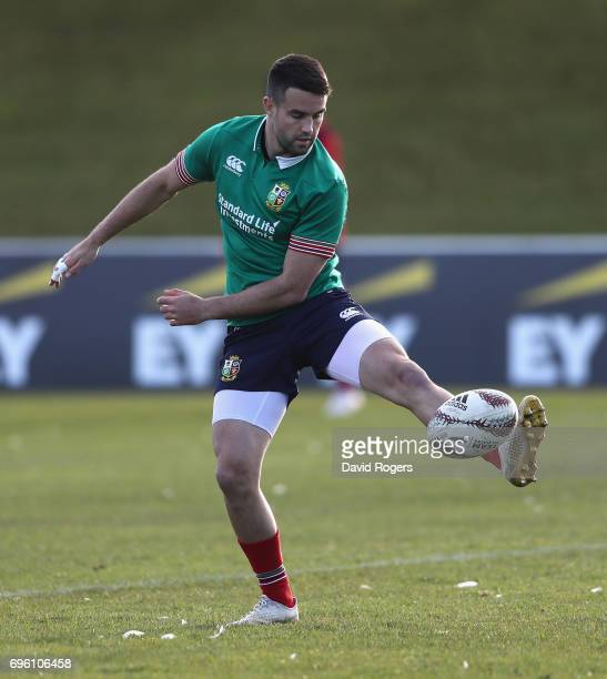 Conor Murray kicks the ball during the British Irish Lions training session held at the Rotorua International Stadium on June 15 2017 in Rotorua New...