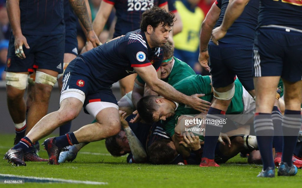 Conor Murray of Ireland burrows over to score the opening try during the RBS Six Nations match between Ireland and France at the Aviva Stadium on February 25, 2017 in Dublin, Ireland.