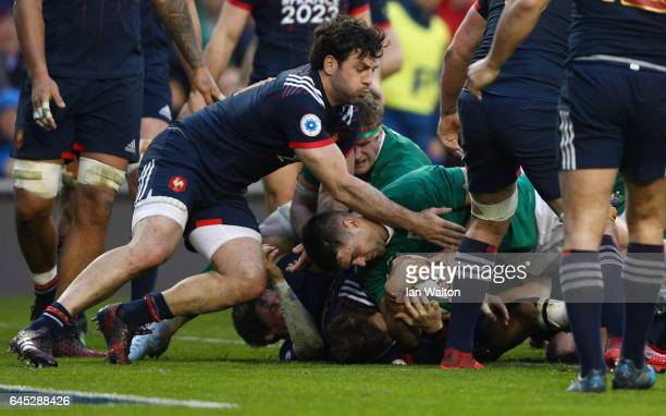 Conor Murray of Ireland burrows over to score the opening try during the RBS Six Nations match between Ireland and France at the Aviva Stadium on...