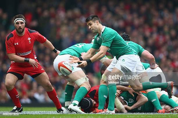 Conor Murray of Ireland feeds the ball from a scrum during the RBS Six Nations match between Wales and Ireland at the Millennium Stadium on March 14...