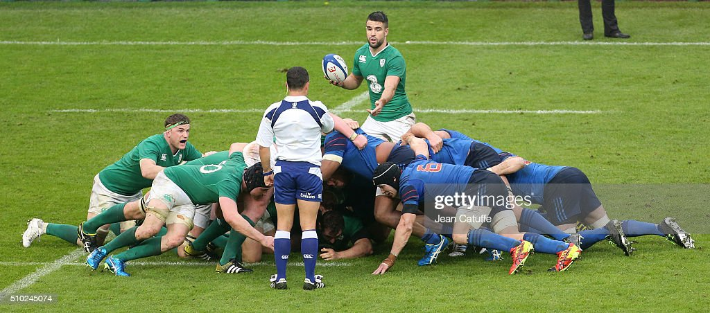 Conor Murray of Ireland in action during the RBS 6 Nations match between France and Ireland at Stade de France on February 13, 2016 in Saint-Denis nearby Paris, France.