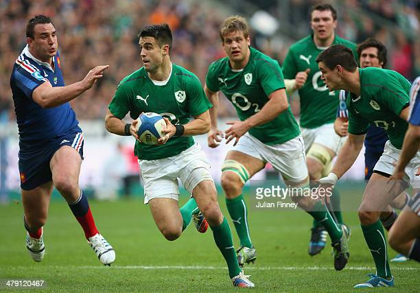 Conor Murray of Ireland in action during the RBS Six Nations match between France and Ireland at Stade de France on March 15 2014 in Paris France