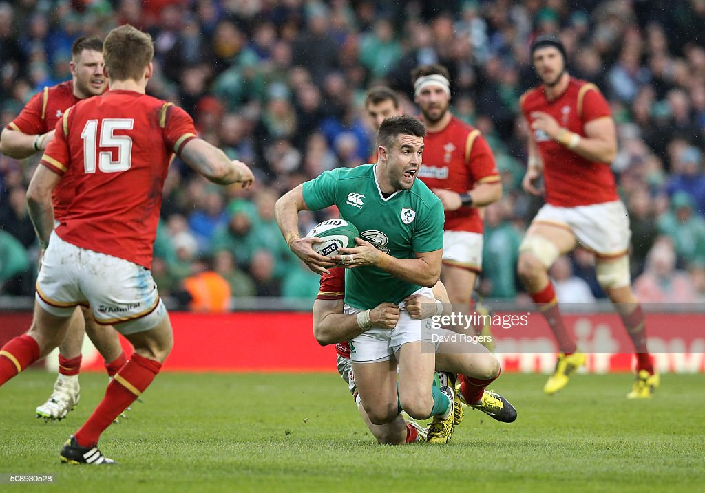 Conor Murray of Ireland is tackled during the RBS Six Nations match between Ireland and Wales at the Aviva Stadium on February 7, 2016 in Dublin, Ireland.