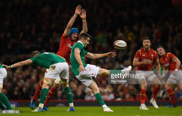 Conor Murray of Ireland kicks during the Six Nations match between Wales and Ireland at the Principality Stadium on March 10 2017 in Cardiff Wales