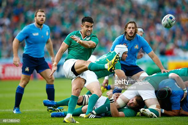 Conor Murray of Ireland kicks the ball during the 2015 Rugby World Cup Pool D match between Ireland and Italy at the Olympic Stadium on October 4...