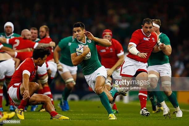 Conor Murray of Ireland makes a break during the 2015 Rugby World Cup Pool D match between Ireland and Canada at the Millennium Stadium on September...