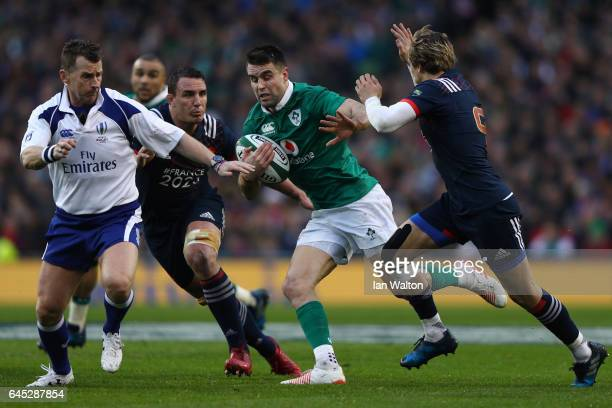 Conor Murray of Ireland takes on Baptiste Serin of France during the RBS Six Nations match between Ireland and France at the Aviva Stadium on...